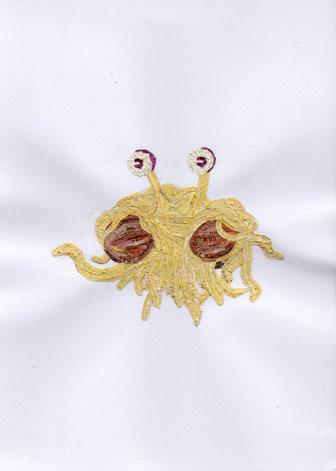 Bild zeigt Corona-Virus aus geschredderten Britischen Pfundnoten