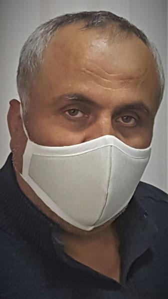 elegante Mund- und Nasenbedeckung Maske für Herren - hellgrau