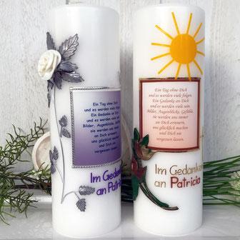 Trauerkerzen mit Spruch, Gedenkkerzen
