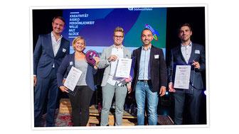 Gründerpreis Gewinnerin für faires Wickelrucksack Label Anna und Oskar
