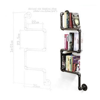 Rohrregal modernes Bücherregal aus Rohren handgefertigt