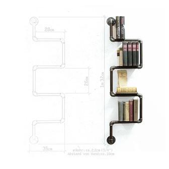 Aus Stahlrohr hält dies Rohrregal ihre Bücher