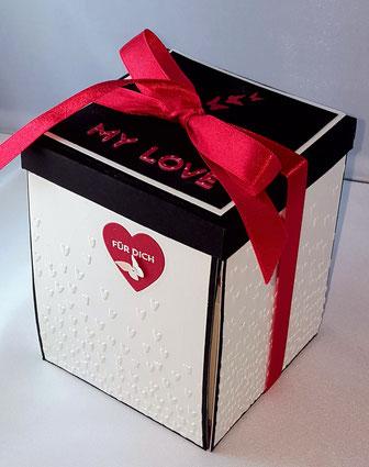 #stempelliese.com #explsionsboxen.de #Geburtstagsgeschenk # Liebeserklaerung #DIYLOVE #Wasserfallkarte #Heiratsantrag