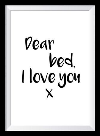 Typografie Poster, Typografie Print Lifestyle, dear bed I love you