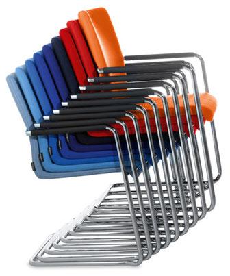 Dauphin, Plenar 2, universeller Freischwinger, 10fach stapelbar, minimalistisch, zeitlos, Bauhaustradition