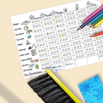 gratisFamilien-Putzplan und Belohnungssystem Kinder Sternchenplan