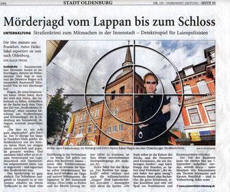 """Zeitungsartikel der NWZ vom 24.08.2006: """"Mörderjagd vom Lappan bis zum Schloß"""" -  Quelle: """"Nordwest-Zeitung, Oldenburg"""""""