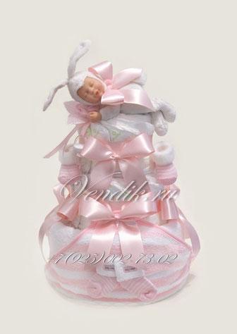 """Розовый торт из памперсов и детской одежды для девочки """"Зайчонок"""" - самый лучший подарок новорожденной малышке"""