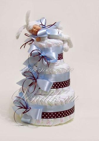 """Торт из памперсов для мальчика """" Зайчонок"""" из коллекции """"Шоколадные сны"""""""