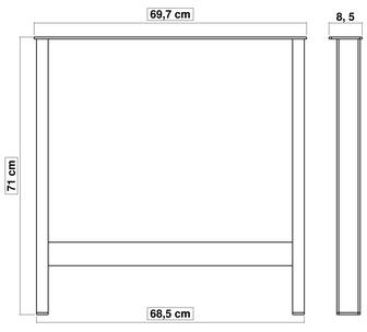 pied de table en métal pour cuisine 71 cm x 70 cm