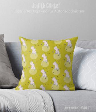 Kissen Muster dekorativ verspielt - Nilpferd Flusspferd grün - Design von Judith Ganter - bei Redbubble - Globaler Online-Marktplatz für Print-on-Demand-Produkte - Geschenkideen mit Bildern