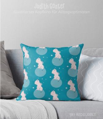 Kissen Muster dekorativ verspielt - Nilpferd Flusspferd blau - Design von Judith Ganter - bei Redbubble - Globaler Online-Marktplatz für Print-on-Demand-Produkte - Geschenkideen mit Bildern