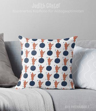Kissen Muster dekorativ verspielt - Fuchs süß Zeichnung - Illustration Judith Ganter - bei Redbubble - Globaler Online-Marktplatz für Print-on-Demand-Produkte - Geschenkideen mit Bildern