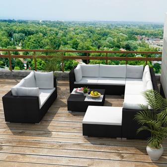 soggiorno #divano #giardino #poltrona #rattan #nero