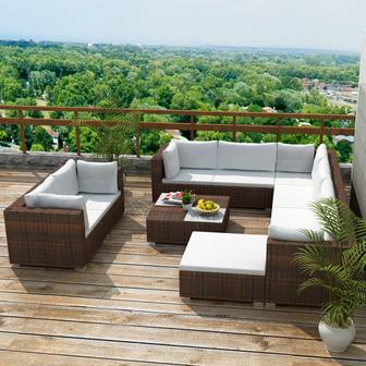 soggiorno #divano #giardino #poltrona #rattan #marrone