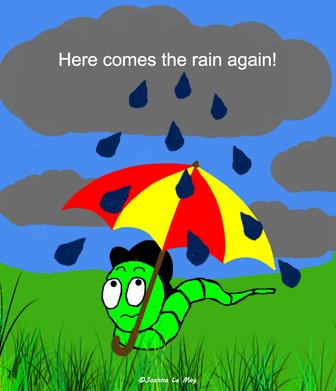 Image d'un vers sous la pluie anglaise et qui parle anglais.