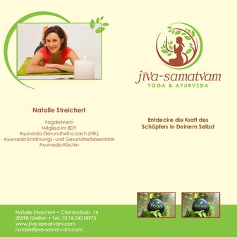 Flyer: Yoga und Ayurveda, Natalie Streichert