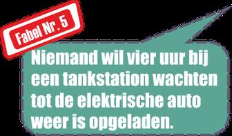 Fabel Nr. 5 Niemand wil vier uur bij een tankstation wachten tot de elektrische auto weer is opgeladen
