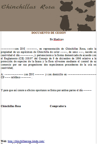 Documento de cesión