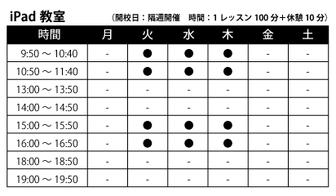 世田谷区カイカ祖師谷教室iPad時間割