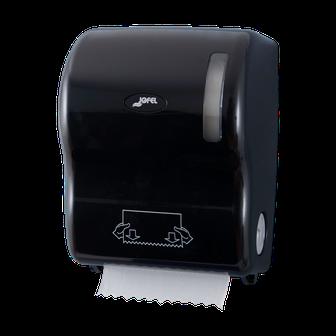 Despachador de toalla en rollo precorte AG56600 Color: Negro Dimensiones en milímetros: Alto: 360 Largo: 285 Ancho: 235 Capacidad: Papel encolado de 40 g Contenido por caja: 1 pieza