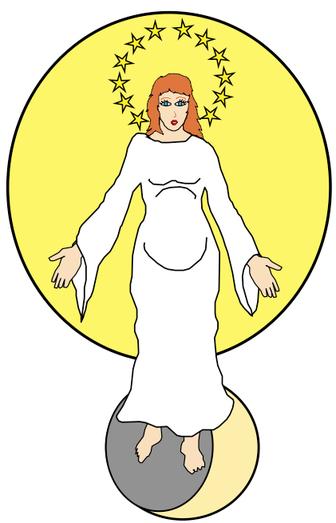 La femme d'Apocalypse 12. Cette femme est lumineuse, entourée des astres. Le soleil l'enveloppe, 12 étoiles forment une couronne sur sa tête et la lune repose sous ses pieds. C'est l'organisation spirituelle de Dieu composée de ses créatures fidèles.