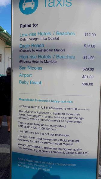 Taxipreise am Hafen