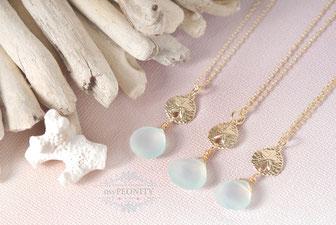 Sanddollar - Chalzedon Halskette vergoldet  sommer mypeonity