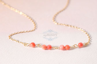 Zarte Korallen Perlen Kette gold silber
