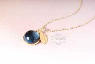 Iolite Wasser Saphir Blau Kette Blatt