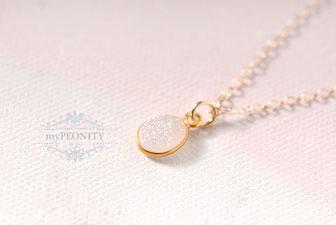 Schimmernde ovale Druse klein Halskette