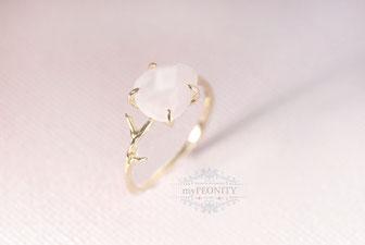 Finger Ring Rosenquarz vergoldet zart rosa