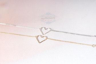 Sterlingsilber Love Armband gehämmerte Herz Gold valentinstag jahrestag