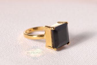 schwarz großer Onyx ring silber vergoldet