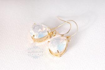 Rauch Graue  Opal Glas Tropfen vergoldete kurze Ohrringe
