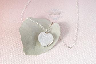 Herzlein weiße Quarz Druzy Halskette Silber mypeonity