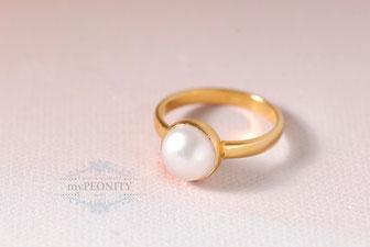 Weiße Perle Perlen Ring Silber vergoldet