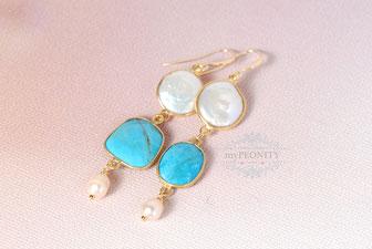 Türkis Ohrringe mit Perlen, vergoldet
