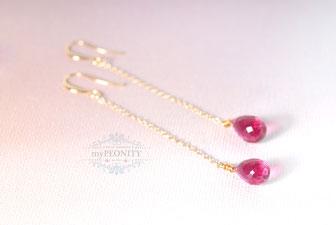 Blush Pink Quarz Kettchen Ohrringe lange kurz mypeonity