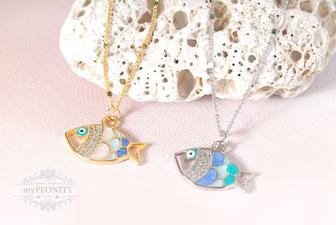 Emaillierte Fische  zarte lange Halskette silber gold sommer mypeonity