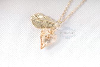 Kristall Herz Feder Halskette vergoldet