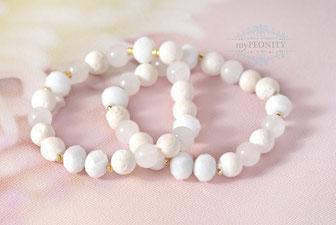 Mixed White Armband in Weißtöne elastisch