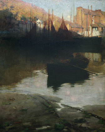 Sir William Llewellyn  'Twixt Night and Day - A Cornish Harbour' (RA 1888) (Dunedin Public Art Gallery)