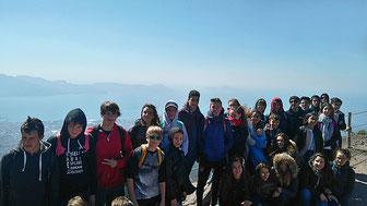 Nos élèves en haut du Vésuve