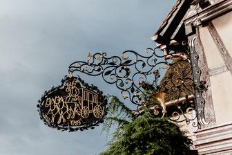 Fachwerkhaus des Hotel-Restaurants Le Relais de la Poste in La Wantzenau imElsass