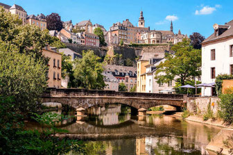 Luxembourg-Grund Bridge over Alzette River