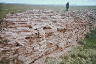 ハルバルガス 9世紀ウイグル国の城壁跡。地方研修旅行で(1985年6月)。1996年に世界文化遺産に登録