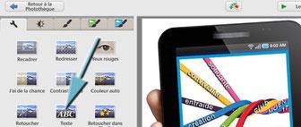 Clic sur Texte avec Picasa