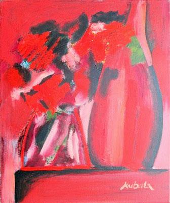 Le Bouquet ardent   huile sur toile, 55 x 46 cm