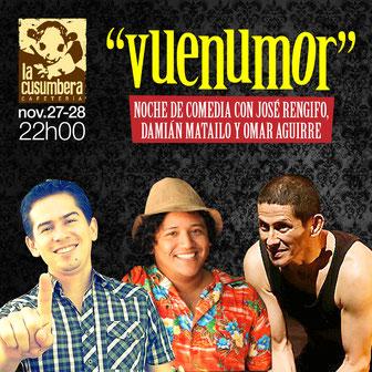 """José, Damián y Omar con su """"vuenumor"""" cerrando noviembre en La Cusumbera. Diseño Eduardo Correa."""